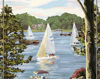 Canandaigua, New York - Lake View with Sailboats (Art Prints available in multiple sizes)