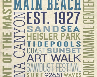 Laguna Beach, California - Typography (Art Prints available in multiple sizes)
