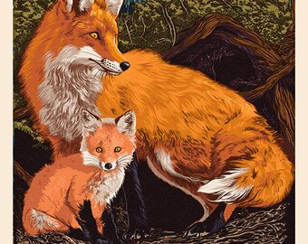 Boulder, Colorado - Fox and Kit - Letterpress (Art Prints available in multiple sizes)