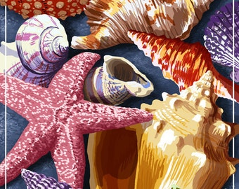 Long Beach, California - Shell Montage (Art Prints available in multiple sizes)