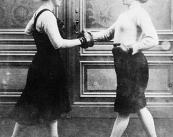 Women Boxing Match Vintage Photograph (Art Prints available in multiple sizes)