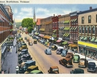 Brattleboro, Vermont - View of Main Street (Art Prints available in multiple sizes)