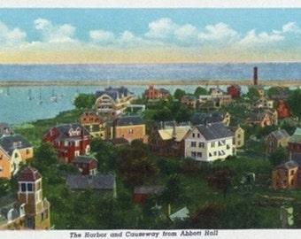Marblehead, MA - Abbott Hall Aerial View of Harbor, Causeway, and Town (Art Prints available in multiple sizes)