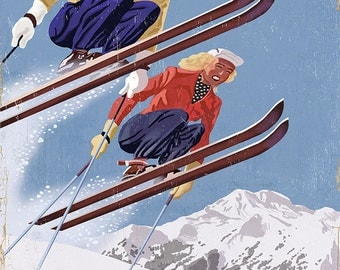 Ski Vermont - Vintage Skiers (Art Prints available in multiple sizes)