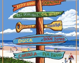 Emerald Isle, North Carolina - Destination Signpost (Art Prints available in multiple sizes)