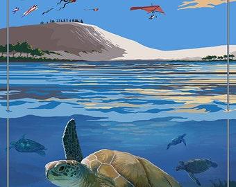 Jockey's Ridge State Park, North Carolina - Ridge and Underwater View (Art Prints available in multiple sizes)