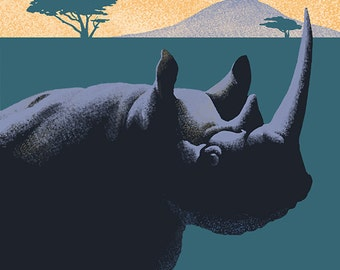 Black Rhino - Lithograph Series (Art Prints available in multiple sizes)