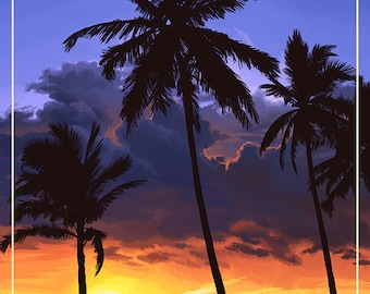 Redondo Beach, California - Palms and Sunset (Art Prints available in multiple sizes)