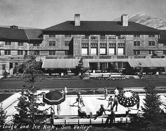 Sun Valley, Idaho - View of Lodge and Ice Rink Photograph (Art Prints available in multiple sizes)