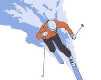 Stylized Skier - Vail, CO (Art Prints available in multiple sizes)