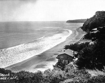 Bolinas, California - Aerial View of the Beach Front (Art Prints available in multiple sizes)