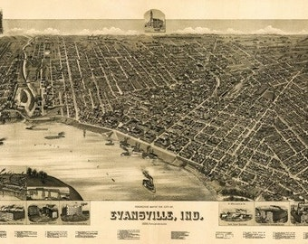 Evansville, Indiana - Panoramic Map (Art Prints available in multiple sizes)