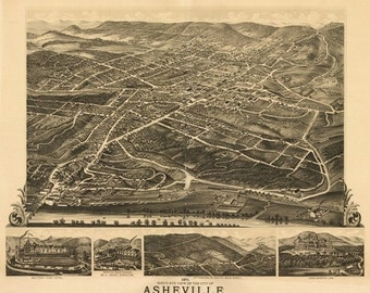 Asheville, North Carolina - Panoramic Map (Art Prints available in multiple sizes)