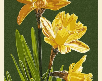 Gloucester, Virginia - Daffodil - Letterpress (Art Prints available in multiple sizes)