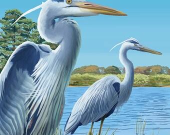 Willamette River, Oregon - Heron Scene (Art Prints available in multiple sizes)