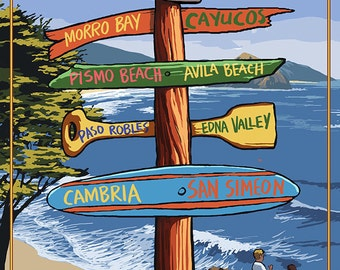 Central Coast, California - Destination Sign (Art Prints available in multiple sizes)