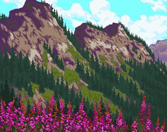 Great Smoky Mountains National Park, Tennessee - Fireweeds (Art Prints available in multiple sizes)