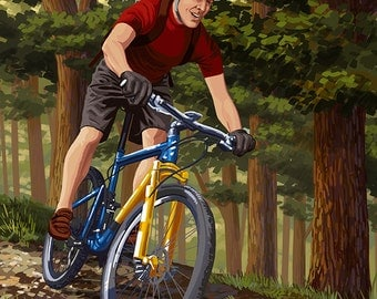 Bike Oregon - River Scene (Art Prints available in multiple sizes)