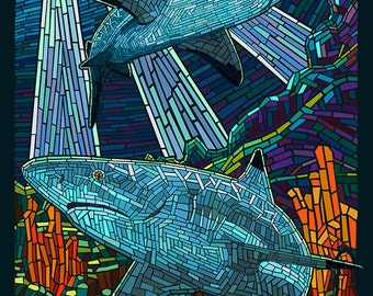 Black Tip Reef Shark - Paper Mosaic (Art Prints available in multiple sizes)