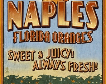 Naples, Florida - Orange Grove Vintage Sign (Art Prints available in multiple sizes)