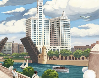 Chicago, Illinois - River View (Art Prints available in multiple sizes)