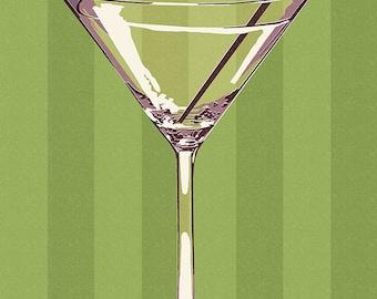 Martini Glass - Letterpress (Art Prints available in multiple sizes)