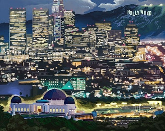 Los Angeles, California - Los Angeles at Night (Art Prints available in multiple sizes)