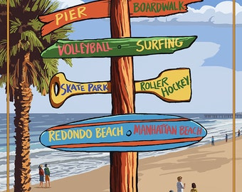 Hermosa Beach, California - Destination Sign (Art Prints available in multiple sizes)