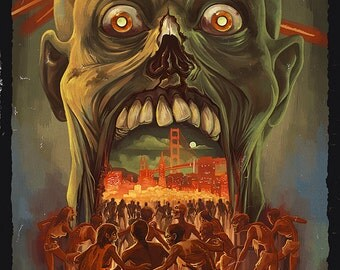 San Francisco City of the Dead Zombie Attack (Art Prints available in multiple sizes)