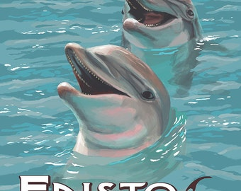 Edisto Beach, South Carolina - Dolphins (Art Prints available in multiple sizes)