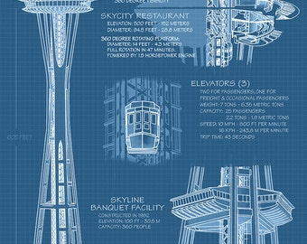 Space Needle Technical Drawing Blueprint Art Prints Available In Multiple Sizes