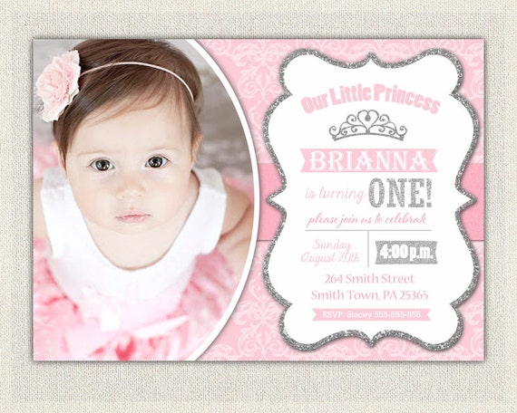 First Birthday Invitation Silver and Pink Princess Invitations – Pink 1st Birthday Invitations