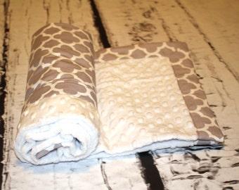 Personalized Minky Baby Blanket - Toddler Minky Blanket - Gray Quatrefoil  Baby - Monogrammed Minky Blanket -