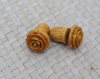 Small Yellow Rose Earring, Fake Gauge Earrings, Wooden Earrings, Fake Plug Earrings
