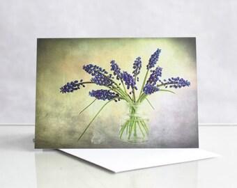 Photo greeting card, Photographic greeting card, Grape hyacinth Photographic Greeting Card, Blank card, Photo card, Flower greeting card.