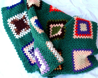Vintage Granny Square Multi-Color Blanket or Throw