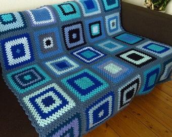 Afghan Blanket Crochet Afghan Granny Squares Blanket Cozy Blanket Crochet Blanket Blue Blanket  Lap Blanket