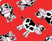 One Yard Green Farms - Moo Cows in Red - Cotton Quilt Fabric - by Kanvas for Benartex Fabrics 5169-10 (W2881)