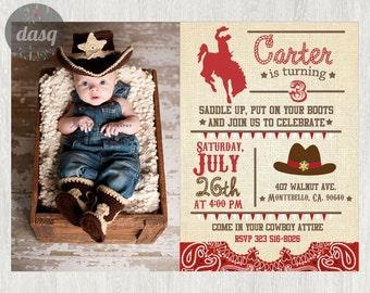Cowboy Invitation - Cowboy Printable - Western Invitation - Cowboy Birthday - Western Birthday -Cowgirl Invitation -