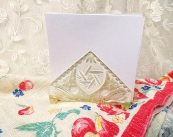 Mid Century Mod Acrylic NAPKIN HOLDER- Clear Plastic Retro Beveled Napkin Caddy-Letter Holder--Fun Retro Tableware-Triangle-Faux Cut Glass