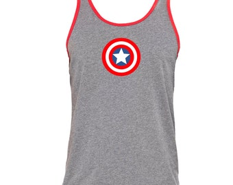 Captain America Super Hero Avengers Tank Workout Tank   Running Tank