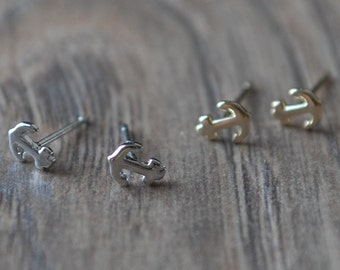 Silver Anchor Stud Earring - Sterling Silver