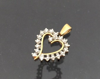 Vintage Sterling Silver Two Tone Heart Charm Pendant