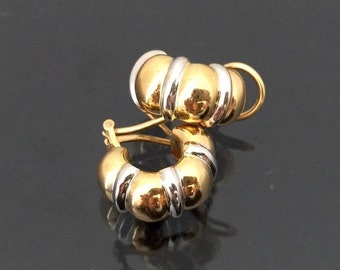 Vintage 18K Solid Yellow & White Gold Clip On Earrings