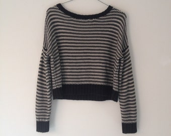 90s black striped jumper womens knitted cropped funky sweater size XS