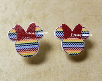 Chevron Rainbow Mouse Heads Ears Nickel Free Post Earrings