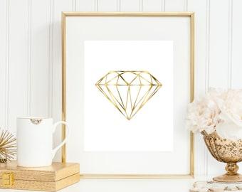 Geometric Diamond Art Print, Faux Gold Diamond, Fashion Print 5x7, 8X10, 11x14 Gold Wall Decor, Abstract Art, Hexagon Art