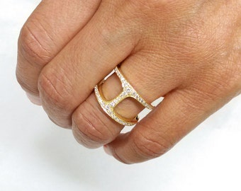 14k Gold Diamond Bridge Ring - Negative Space Ring - Christmas Gift - Valentines