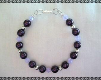 purple bracelet, dark purple bracelet, crystal bracelet, Swarovski bracelet, light purple