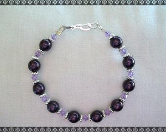 purple bracelet, dark purple bracelet, crystal bracelet